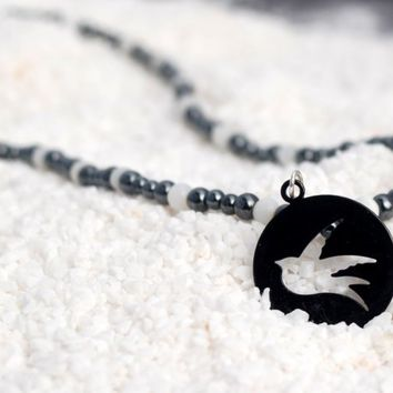 Black and White Mod Hippie Dove Peace and Love Necklace with Black Hematite and White Cat's Eyes, Hippie Jewelry, Modern Necklace, Peace