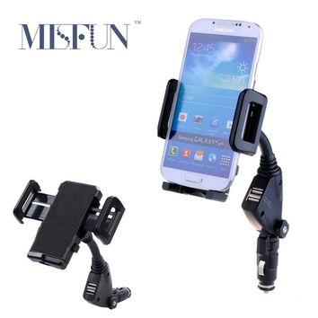 Universal Car Mobile Phone Holder Stand Cigarrette Lighter 2 Ports USB Charger Mount for Iphone 5 6 6s 7 Plus Samsung S7 Edge