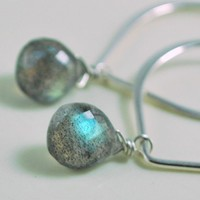 Lotus Sterling Earrings with Labradorite by livjewellery on Etsy