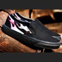 Trendsetter  Vans Slip-On Canvas Print Flats Sneakers Sport Shoes