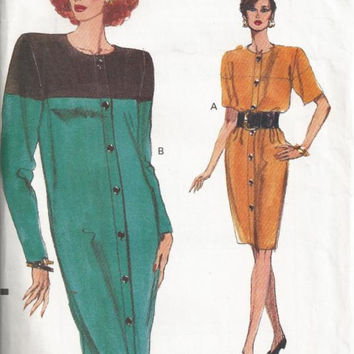 Vogue Pattern 7832 Misses Loose Fitting Tapered Shift Dress Uncut ©1990 Contrast Colour Blocking Size 14-18 Bust 36-40 Uncut Sewing Pattern