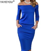 YAYEYOU Vestidos Brand Women Dress Off Shoulder Plus Size Slash Neck Clothing Casual Work Office OL Party Pencil Dress
