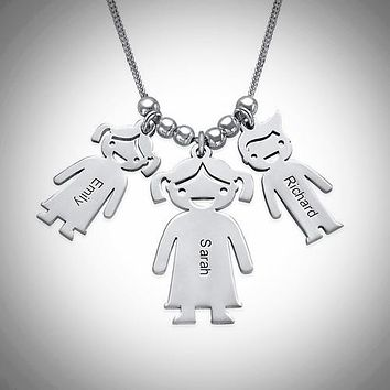 Mother and Child(ren) .925 Sterling Silver Charm Necklace