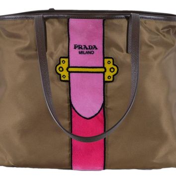 Prada Womens Brown Tessuto Ricamo Shopping Tote Shoulder Bag Messenger Bag with Pink Velvet Accent Line Leather Trim 1BG065