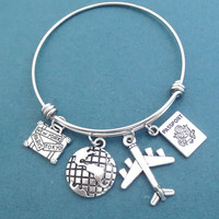 Airplane, Passport, The earth, Silver, Bangle, Bracelet, Travel, Traveller, Jewelry, Biithday, Friendship, Sister, Gift, Jewelry