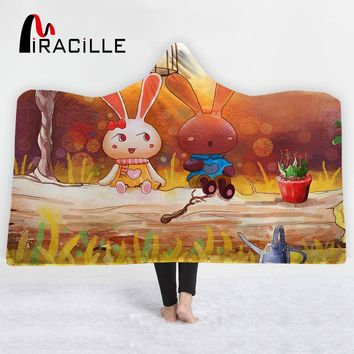 Miracille Hooded Blanket Colorful Super Soft Wearable Blanket for Kids Gift Cartoon Sherpa Fleece Blanket For Winter