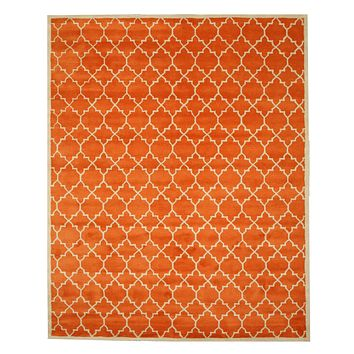 EORC Hand-tufted Wool Orange Transitional Moroccan Moroccan Rug