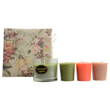 Candle Gift Box Sarah CANDLE GIFT BOX SARAH FLORAL PRINT WITH TERRA COTTA, OLIVE GREEN AND BROWN BOX SET CONTAINS ONE ANJOU PEAR SMALL GLASS VASE & THREE VOTIVES FEATURING FUJI APPLE, ANJOU PEAR AND VANILLA OUD UNISEX