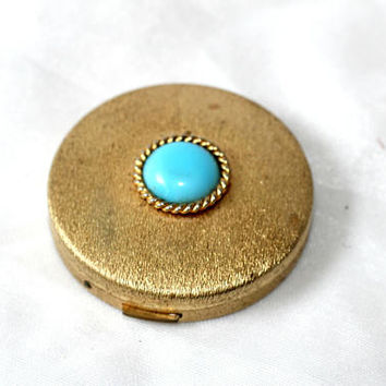 Vintage Compact Brushed Gold Tone with Blue Stone (Faux Turquoise) | Round Vintage Compact with Mirror | Ladies Compact | Makeup Tool
