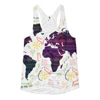 *CLEARANCE !! World map bohemian Women's racerback tank