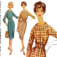 1960s Dress Pattern Uncut Bust 32 McCalls 5622 Roll Collar Day or Evening Slim Sheath Dress Kimono Sleeves Womens Vintage Sewing Patterns