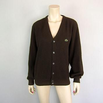 Vintage 1960s Izod Lacoste Espresso Brown Cardigan Sweater 60s Golf Tennis Preppy Alli