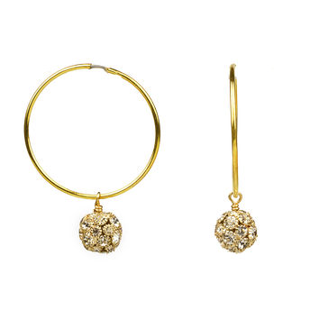 John Wind Infinity Swarovski Crystal Ball Hoop Earrings (gold & silver)