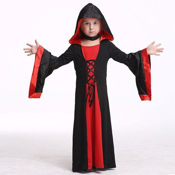 2017 Girls Halloween Dress Kids Witch Robe Cosplay Clothing For Baby Girl Toddler Party Gown Children Costume Child Clothes