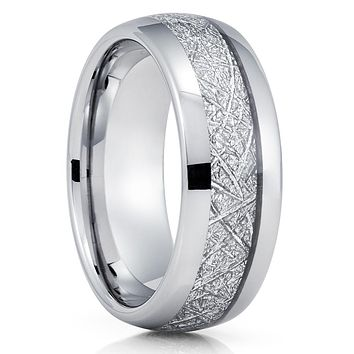 Silver Tungsten Ring - Meteorite Wedding Band - Meteorite Ring - Silver Tungsten