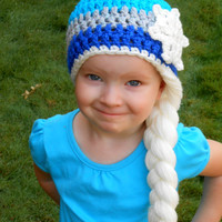 Elsa Hat - Halloween Costume - Queen Elsa Inpired Hat- Warm Winter Beanie- Blue Beanie with White Braid
