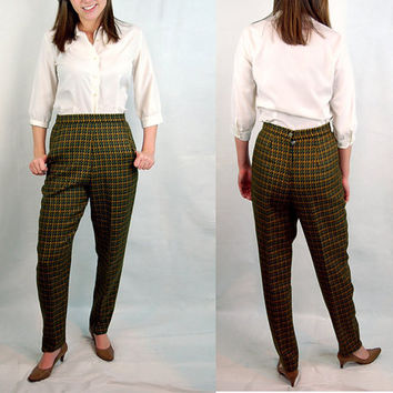 Vintage 80s high waisted pants  wool tweed pants  by vintagerunway