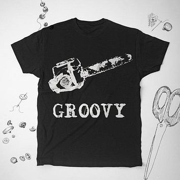 Groovy Horror Scary Chainsaw Graphic T-Shirt  Shirt Top Tee
