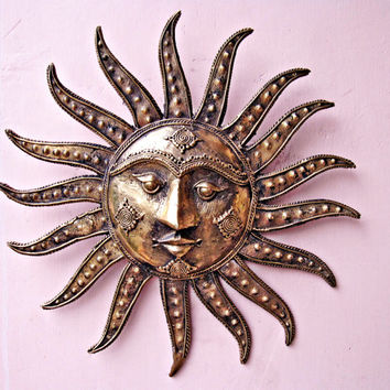 1940s Large Sun God Wall Sculpture, 3D Wall Art, Metal Sculpture, metal art, Wall Hanging, Mid century Tribal Craft