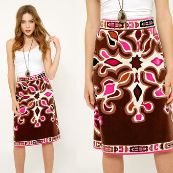 Vintage 60s Geniune EMILIO PUCCI Skirt PSYCHEDELIC Velvet Pencil Skirt Mod Pucci Skirt