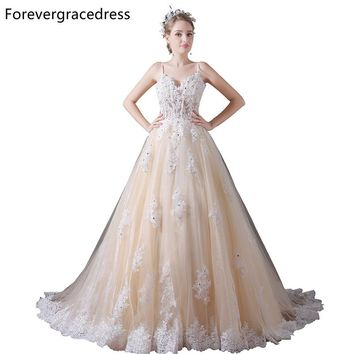 Forevergracedress Gorgeous Spaghetti Straps Prom Dress A Line Lace Long Homecoming Evening Party Gown Plus Size Custom Made
