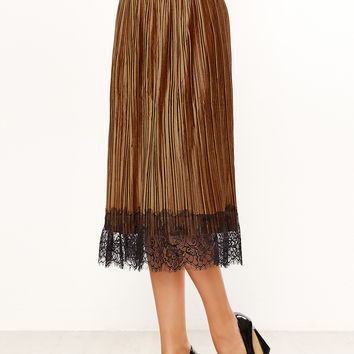 Coffee Eyelash Lace Pleated Skirt