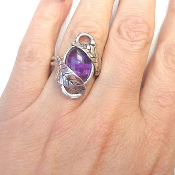 Amethyst leaf ring, elvish sterling ring, outstanding amethyst ring, one of a kind purple ring, purple shabby ring.