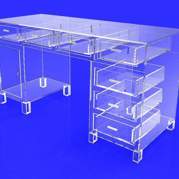 Clear Plexiglass Desk, Executive Table Clear Acrylic, Boutique High End Display Showcase Table 10344