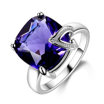 Charm 13x13MM Large Stones Natural Purple Amethyst Rings 100% Genuine 925 Sterling Silver Women Fashion Jewelry Gift Promotion