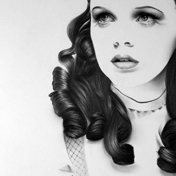 Judy Garland Pencil Drawing Fine Art Portrait Signed Print