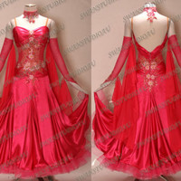 NEW PASSION PINK SATIN BALLROOM DANCE COMPETITION DRESS  WB1806