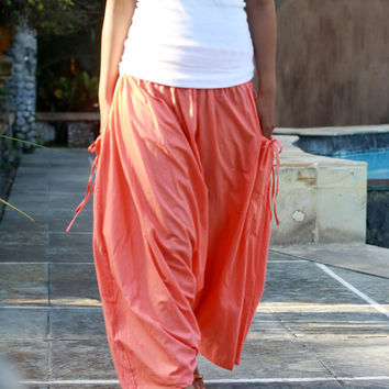 Coral Harem Pants, Long Harem Pants, Harem Skirt with pockets