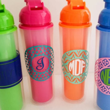 16 oz Waterbottle, Plastic Flip Top Double Walled Tumbler, personalized water bottle, custom design sport drinkware, green orange pink blue