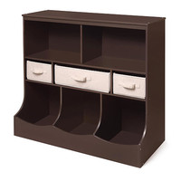Combo Bin Storage Unit with Three Baskets - Espresso