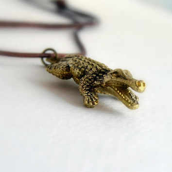 mens necklace  - alligator man pendant - brass crocodile jewelry - gift for him - vintage alligator