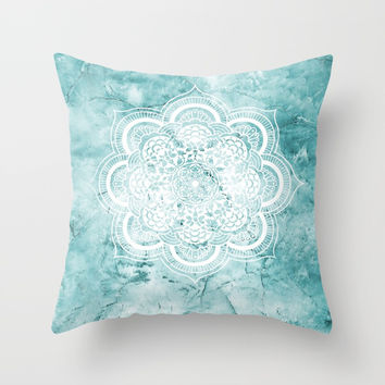 Mandala on teal marble. Throw Pillow by Nayers