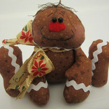 Primitive Handmade Christmas Gingerbread Cookie Ornament Decoration Shelf Sitter One of a Kind