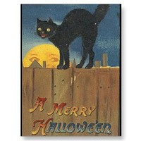 KRW Vintage Halloween Black Cat Postcards from Zazzle.com