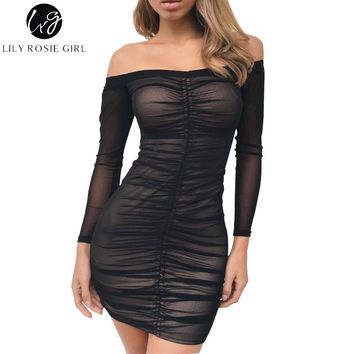 Lily Rosie Girl Black Off Shoulder Tassel Sexy Club Women Dress Short Sleeve Summer 2017 Party Bodycon Dresses Mini Vestidos