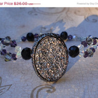ON SALE Elegant double beaded Smoky faux druzy crystal bracelet -holiday -Gifts for her -Formal Bracelet -Gunmetal bracelet -Christmas - Wo