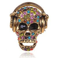 Music Is Life & Death Antique Gold Tone Stereo Headphones Crystal Skull Adj Ring