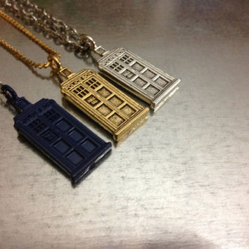 Doctor Who TARDIS Silver Tone, Gold Tone and Blue Charmed Necklace