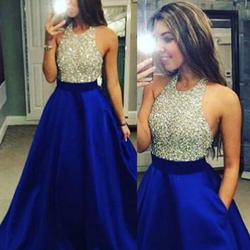 Royal Blue Sparkly A-Line Prom Dresses Evening Dresses
