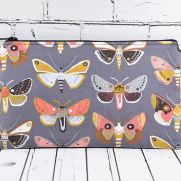 Insect Pencil Case, Moth Pencil Case, Moth Zip Pouch