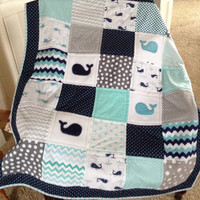 Baby Whale quilt in teal, navy and white with navy border