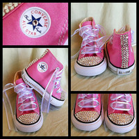 Pink Blinged Out Chuck Taylor Converse Sneakers