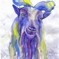 Goat, painting , watercolor , art print, A4