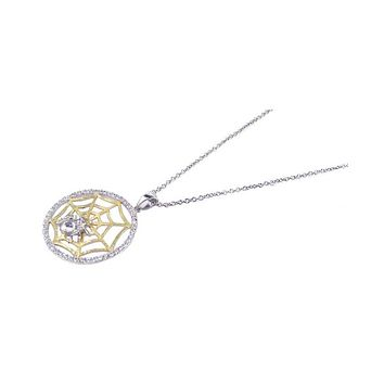 .925 Sterling Silver Gold & Rhodium Plated Clear Cubic Zirconia Spider Web Pendant Necklace 18 Inches