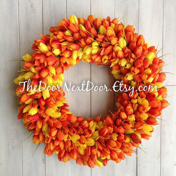 Tulip Wreath - Spring Wreath - Mothers Day Wreath - Easter Wreath - Orange Tulip - Yellow Tulip