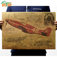 DCTOP Fighter Airplane Vintage Poster North American No.47 Military Aircraft Wall Sticker Retro Kraft Paper Poster Home Decor